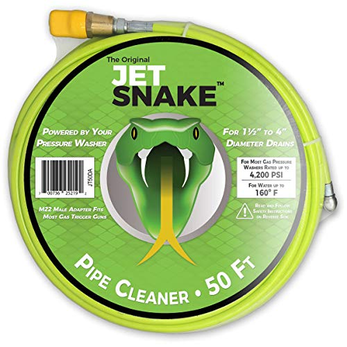 SEWER JETTER - 50 FT JetSnake Drain Cleaner for Your GAS Pressure Washer