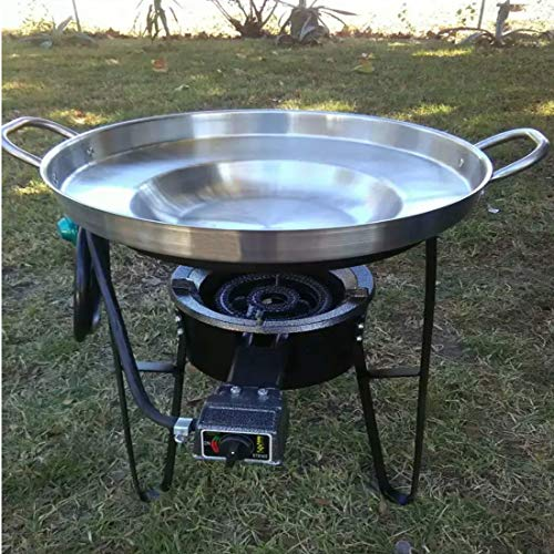 "Large 3 in 1 Mexican Style Concave Comal Stainless Steel 22"" Set With Propane Burner Stove & Heavy Duty Metal Cast Iron Stand-Ideal for Food Residential Commercial Restaurant Para Tacos Use"