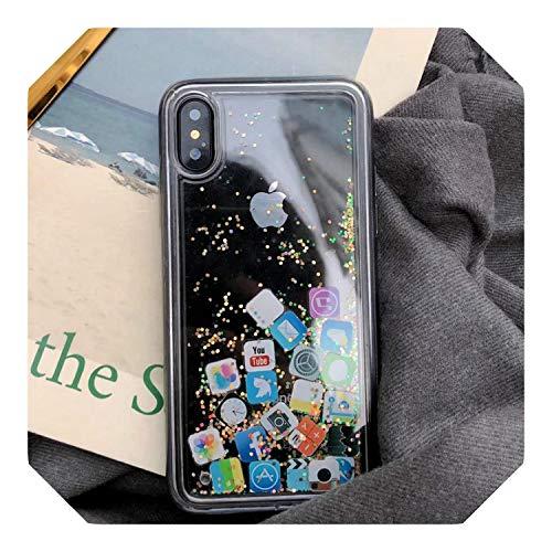 Para el iPhone 8 líquido duro PC claro de la carcasa del teléfono para iPhone 6 6S 7 8 Plus X XS XR MAX casos de arenas movedizas cubierta lindo aplicación icono de la Caso Capa