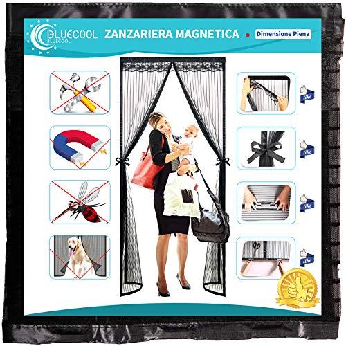 Bluecool Zanzariera Magnetica per Porta 80x210cm Anti Zanzare Calamite Tenda con Cravatta a Farfalla, Rete Design per Porta da Balcone Soggiorno Terrazza, Nero