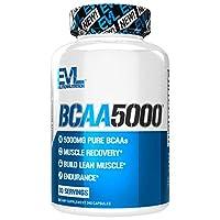 Evlution Nutrition(エボリューションニュートリション) BCAA5000, 必須アミノ酸 筋肉を鍛える BCAAs5g含有 カプセル(30回分)