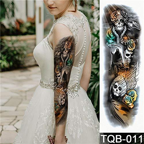 Etiqueta engomada del tatuaje Moon Tree Rose Flower Pattern Full Arm Art Flower Tattoo Large Tattoo