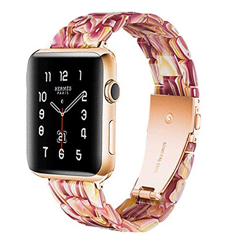 Compatible con Apple Watch Correa 38-40mm/42-44mm Series 5/4/3/2/1, correa delgada de resina, accesorio de 38-40mm Blush