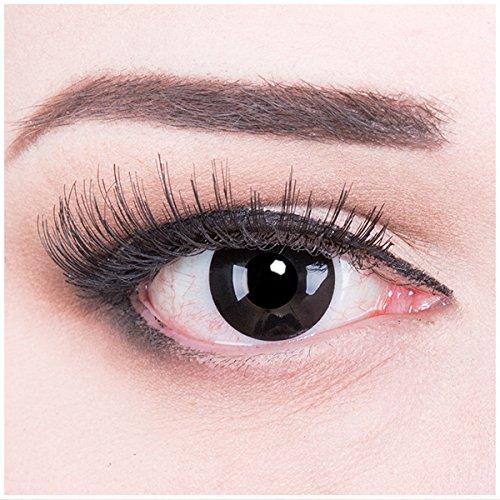 Fasching schwarze Kontaktlinsen Farbige Kontaktlinsen crazy Kontaktlinsen crazy contact lenses Schwarz Black Dämonaugen Hexenaugen 1 Paar zu Karneval, Halloween, Fasching und Halloween..Mit Kontaktlinsenbehälter ohne Stärke!