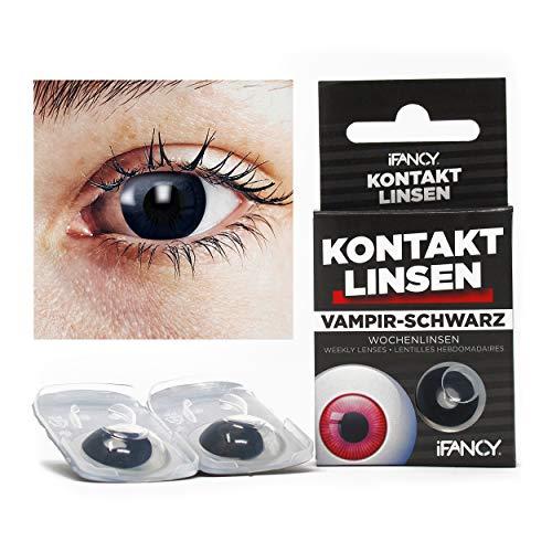 Kontaktlinsen VAMPIR in Schwarz - ohne Stärke - 2er Pack in Top-Markenqualität - perfekt zu Halloween & Karneval