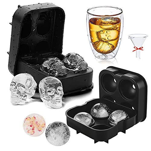 Sphere Ice Cube Mold,Silicone Ice Trays for Freezer with Lid Set of two,Ice Ball Maker Mold for Whiskey,Skull Ice Cube Mold for Cocktails and Juice Drink,Round Cake Chocolate Molds Reusable and BPA-free