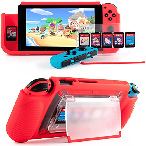 Protective Case for Nintendo Switch, Grip Case with Game Storage, Nintendo Switch with Stand, Nintendo Switch Cover.