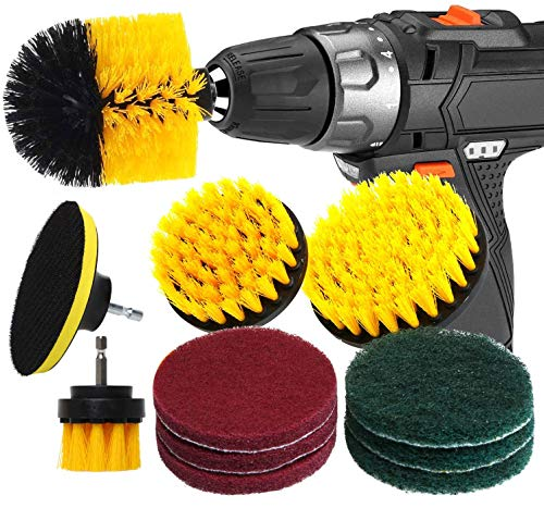 RAIN QUEEN Drill Brush 10Pcs Electric Cleaning Brush Power Scrubbing Brush Drill Fixing bohrmaschine bürsten Fliesen Auto Cleaning Set Power Brush Set (Set 10, Gelb)