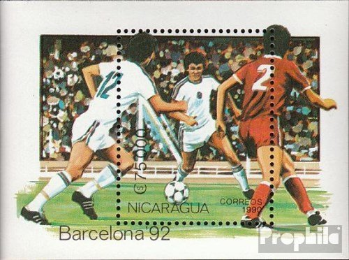 Prophila Collection Nicaragua Bloque 191 (Completa.edición.) 1990 olímpicos Juegos ´92, Barcelona (Sellos...