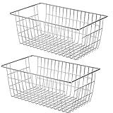 SANNO Farmhouse Organizer grandi bidoni per frigorifero, congelatore, ufficio, bagno, dispensa, con maniglie, set di 2 (cromato)