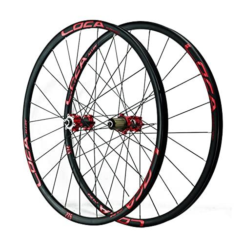 LICHUXIN Montaña Juego De Ruedas 26/27.5/29 Pulgadas Rueda De Bicicleta Llanta MTB De Aleación Aluminio Lanzamiento Rápido Freno De Disco 8-12 Velocidad 24H (Color : Red-1, Size : 700C)