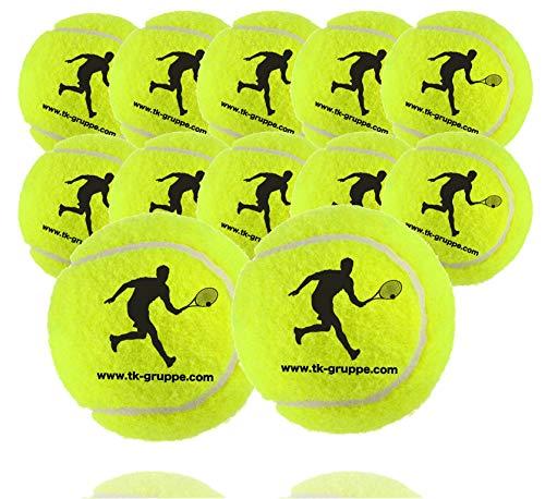 12 pelotas de tenis para competición y entrenamiento - pelota de tenis amarilla para todas las superficies - pista de tierra batida y pasillo - con red de tenis