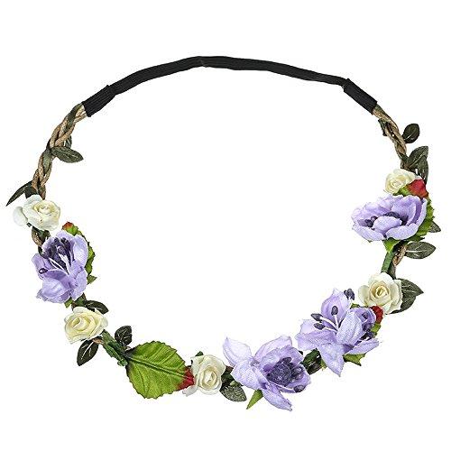 Dorical Stirnband Blumen, 1 Stück Stirnbänder Krone Haarband Kopfband Blume Haarbänder mit Elastischem Band für Hochzeit und Party Haarbänder Band für Frauen Mädchen Mehrfarbig Blume(Lila)