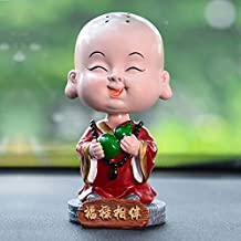 WANDERBAL HOME New Year Gift Resin Cute Monk Car Interior Display Ornaments with Best Wishes
