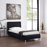 CARO-Möbel Polsterbett Cannes in schwarz Einzelbett Jugendbett 90 x 200 cm mit Lattenrahmen - 2