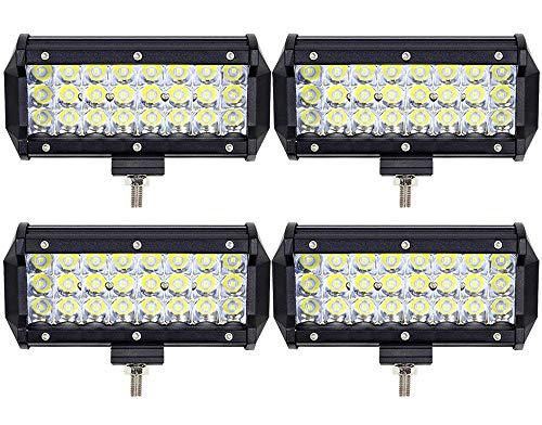 Leetop 4pcs 72W Projecteur Phare de Travail LED Barre de Travail étanche IP67 LED Antibrouillard Feux Diurne Lumière Off Road Lampe Feu de Travail pour Camion 4x4 Tracteur