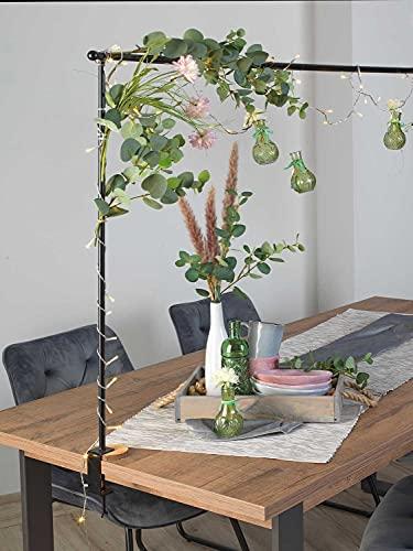 Möbel Jack Deko-Tischgestell Tischstange Dekostange Tischdekorationshalter zum Klemmen   Breite 140 cm   Ausziehbar auf bis zu 250 cm   Metall   Schwarz