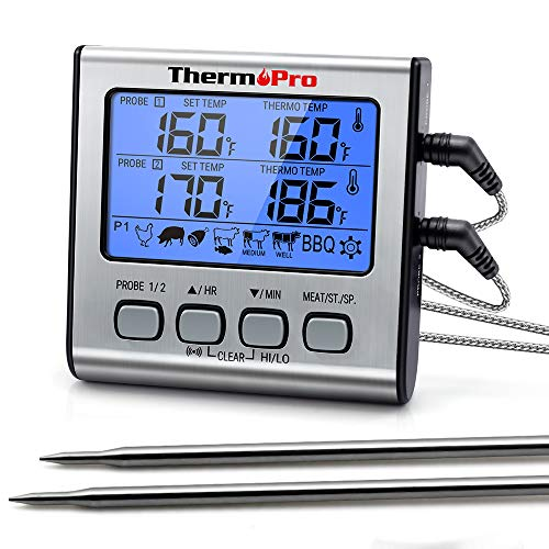 ThermoPro TP-17 Dual Probe Digital Cooking Meat Thermometer Large LCD Backlight Food Grill Thermometer with Timer Mode for Smoker Kitchen Oven BBQ, Silver