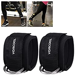 VORCOOL 2 pieces foot straps foot straps D-ring foot cuffs for gym workouts cable machines leg exercises with carrying bag for men and women