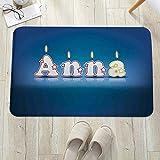 Badezimmerteppich mit Memory Foam,Anna, Geburtstagskerzen mit Sternchen in...