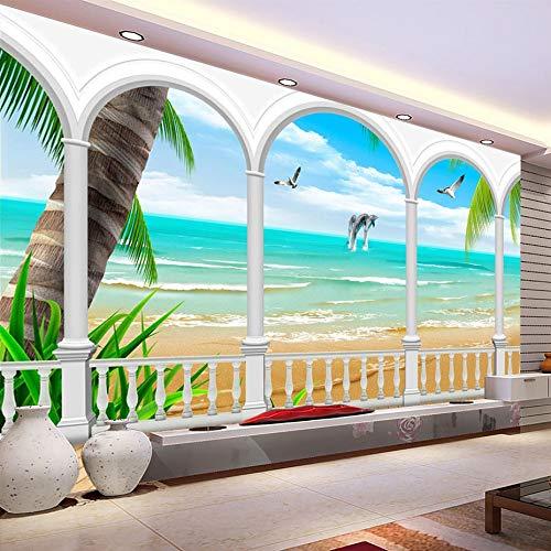 TDG Papel Pintado Papel Pintado Personalizado 3D Mural Impermeable Papel Pintado Arcos Playa Paisaje Marino Decoración De Pared Pintura Sala Sofá Tv Fondo Foto Papel Pared, L150* W105CM