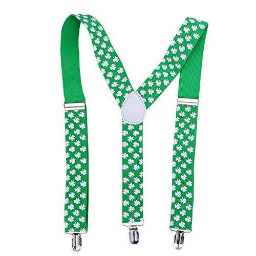 Amosfun Shamrock Clover-Hosenträger X-Form verstellbare Hosenträger St. Patrick's Day Parade Kostümzubehör