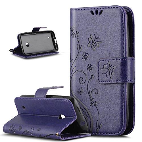Compatible avec Coque Nokia Lumia 530 Etui Motif Embosser Fleur Papillon Housse Cuir PU Etui Housse Coque Cuir Portefeuille Protection supporter Flip Case Etui Housse Coque pour Nokia Lumia 530,Violet