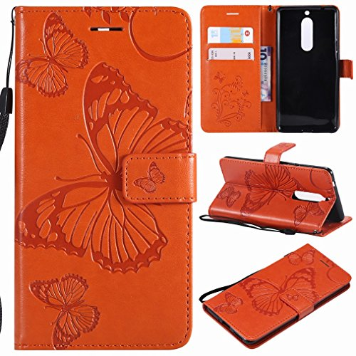Laybomo für Nokia 5 Ledertasche Schuzhülle Weiches TPU Silikon Slim Flip Cover Magnetisch Brieftasche Schale Handyhülle für Nokia 5 mit Kartensteckplatz, 3D Schmetterling (Orange)