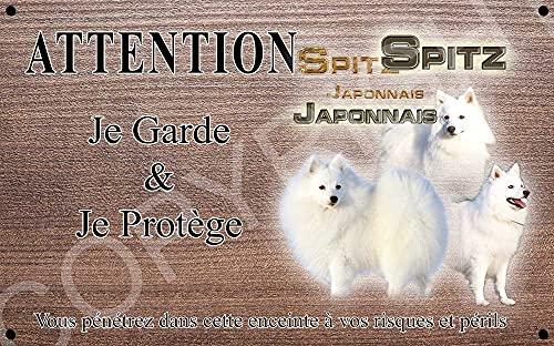 Pets-Easy.com Attention Chien de Garde personnalisée Spitz Japonais - pré percée et vis livrées. De 30 cm à 15 cm…
