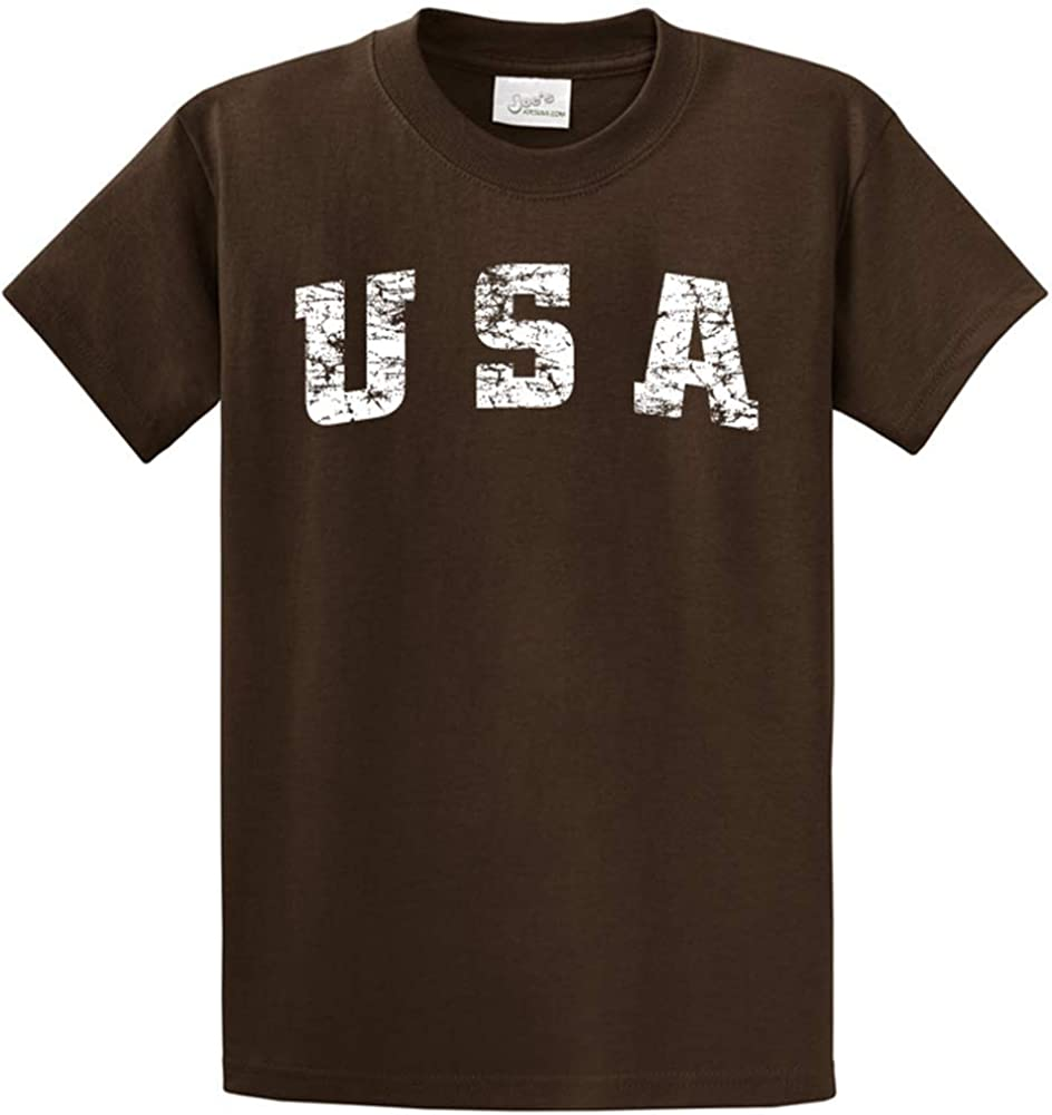Joe's USA -Tall Vintage USA Logo Tee T-Shirts in Size 2X-Large Tall -2XLT Brown