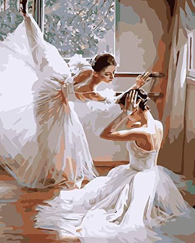 VIKMARI Kits de Pintura al óleo de Bricolaje para Adultos, Pintura por números, Kit de Pintura por números de Bailarina de Ballet para niños, Arte de Pared de 16 x 20 Pulgadas sin Marco