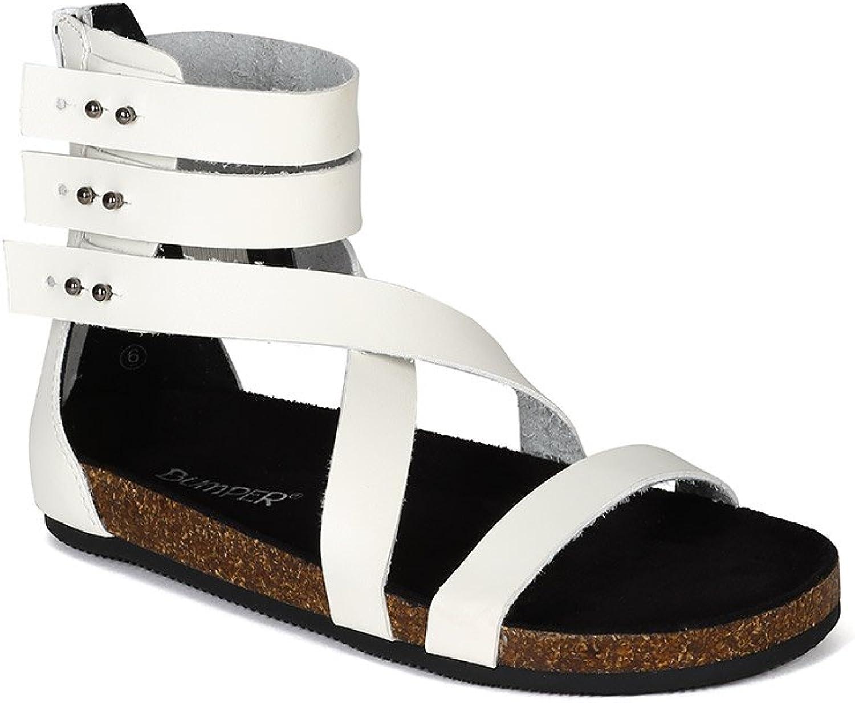 Bumper Women Leatherette Open Toe Strappy Gladiator Cork Sandal BI40 - White