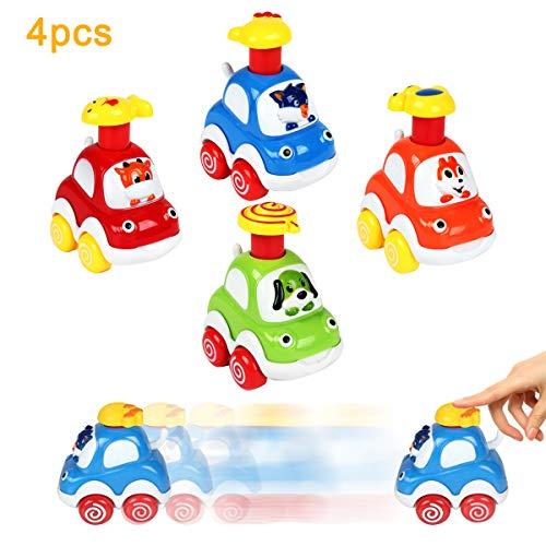 welltop Lernspielzeug für 1 2 3-jährige Kinder-Geschenkpresse und Auto-Spielzeug Baby Mini Toy Cars Kleinkinder LKW Spielzeug Set