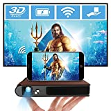 Mini Projector 8400mAh Battery, Portable WiFi Projector Support Full HD 1080P 3D Video Home Theater HDMI USB 150' Display Wireless Smart Phone Screen Mirroring for PS4 DVD TV PC Laptop Outdoor Movie