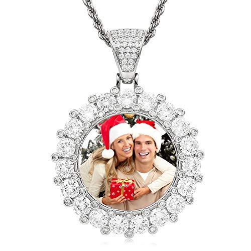 Collar de medalla personalizado Collar de foto personalizado Collar de torsión Collar con colgante redondo Collar de hip hop(Plata 18)