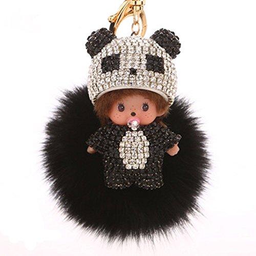 EASYA Cute Key Ring Creative Pom Pom Doll Fox Fur Ball Key Chain for/Key Ring/Bags (Black Keychain)