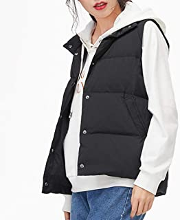 Womens Down Vest Warm Sleeveless Snap Lightweight Casual Jackets Outerwear, Stand Collar Gilet with Pockets, Three Colors Optional. (Color : Black, Size : S)