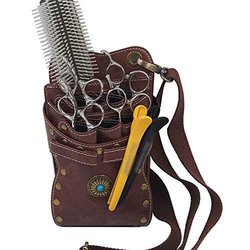 Nfudishpu Elektrischer Haarschneider Haarstylist Holster Professioneller Salon Friseur Schere Beutel Kamm-Stanzwerkzeuge (Farbe: Braun)