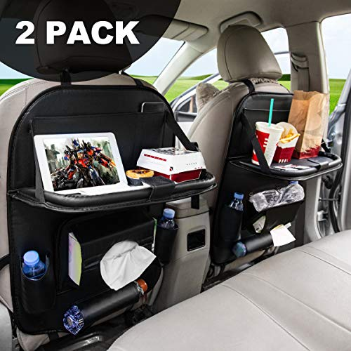 FLY OCEAN Car Backseat Organizers, Back Seat Organizer with Tray and Storage Leather for Kids Toy Bottle Drink Vehicles Travel Accessories (Black 2 Pack)