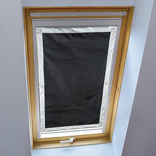 Liveinu Estor Térmico con Ventosas Cortina Opaca Portátil para Ventanas y Claraboyas Protección UV Parasol Parabrisas De Coche Negro 116 x 120 cm