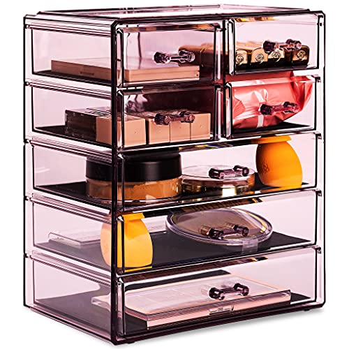 Sorbus Cosmetics Makeup and Jewelry Big Purple Storage Case Display- 3 Large and 4 Small Drawers Space- Saving, Stylish Acrylic Bathroom Case