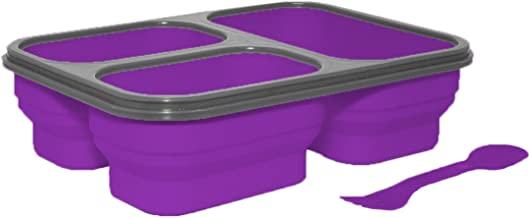 SILVER ONE Expandable & Collapsible Bento Box Silicone Container Children/Adult Lunch Box, 3 Compartments (Eco One Meal Kit) (Purple)