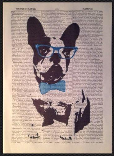 Parksmoonprints Affiche murale vintage Motif bulldog français