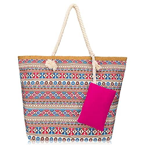 aiface Große Strandtasche mit Reißverschluss, Damen Schultertasche, Leicht und Stark für Reise, Kaufen, Strandurlaub usw.