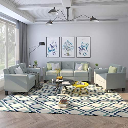 UNIROI 3 Piece Living Room Set, 1 Sofa, 1 Loveseat and 1 Armchair with Rivet on Arm Tufted Back...