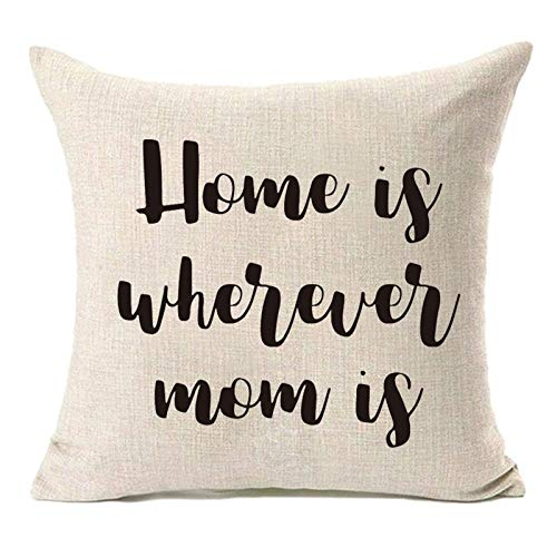 MFGNEH Home is Wherever Mom is Throw Pillow Covers,Pillow Case Cushion Cover 18x18,Mom Birthday...