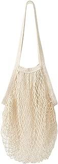 SSYUNO-Home & Garden Mesh Woven Net Shopping Bag Reusable Fruit Vegetable String Grocery Shopper Long Handle Cotton Tote Shoulder Organizer Bag