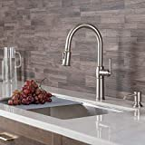 Kraus KPF-1682SFS-KSD-80SFS Sellette Traditional Spot Free Stainless Steel Single Handle Pull-Down Kitchen Faucet with Deck Plate and Soap Dispenser