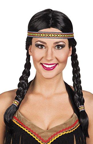 NEU Perücke Indianerin, mit Zöpfen und Stirnband
