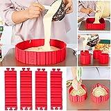 TANSIR Bake Snake, stampi per Torte, Anello Regolabile in Silicone, Stampo per Dolci, Accessori per Fondente, Cake Mould, Fai da Te Una varietà di Forme (Rosso), 4 Pezzi